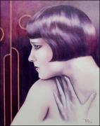 Colored Pencil Framed Prints - Lulu Portrait of Louise Brooks Framed Print by Paul Petro