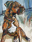 Brindle Metal Prints - Lulu Metal Print by Sandy Tracey