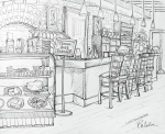 Restaurant Drawings Prints - Luluss Chocolate Bar Print by Rachel Cotton