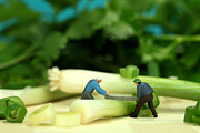 Miniature Digital Art - Lumberjack cutting green onion in cilantro Jungle by Mingqi Ge