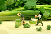 Funny Digital Art Framed Prints - Lumberjacks cutting green onion in cilantro Jungle Framed Print by Mingqi Ge