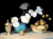 Pears Digital Art Originals - Luminous Watercolor Orchids by Heather Coen