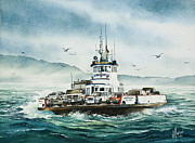 Pacific Northwest Ferry Framed Print Paintings - Lummi Island Ferry - Rough Seas by James Williamson