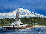 Pacific Northwest Ferry Framed Print Paintings - Lummi Island Ferry and Mt Baker by James Williamson
