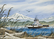 Pacific Northwest Ferry Framed Print Paintings - Lummi Island Ferry by James Williamson