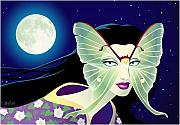 Wicca Digital Art Prints - Luna Print by Cristina McAllister