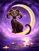 Black Cat Fantasy Framed Prints - Luna Framed Print by Jeff Haynie