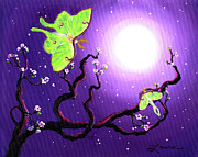 Luna Moths In Moonlight Print by Laura Iverson