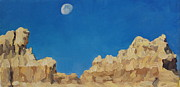 Badlands Painting Originals - Lunar Am At The Wall by Patricia A Griffin