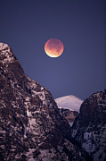 Jackson Hole Photo Framed Prints - Lunar Eclipse Over Grand Tetons Framed Print by Photo By Daryl L. Hunter - The Hole Picture