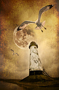 Sepia Posters - Lunar Flight Poster by Meirion Matthias