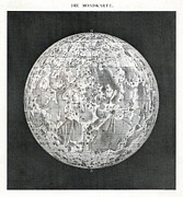 Selenology Prints - Lunar Map Of 1854 Print by Detlev Van Ravenswaay