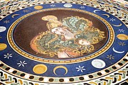 Gorgon Photo Prints - Lunar Phases, 3rd Century Roman Mosaic Print by Sheila Terry