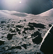 Camelot Prints - Lunar Rover At Rim Of Camelot Crater Print by NASA / Science Source