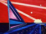 Pm Ernst Painting Prints - Lunar Schooner Print by Pm Ernst