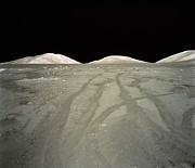 Moon Surface Prints - Lunar Surface, Tracks Of Lunar Roving Vehicle (lrv) In Dust Print by World Perspectives