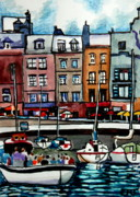 Water Reflections Mixed Media Framed Prints - Lunch at the Harbor Framed Print by Elizabeth Robinette Tyndall