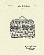 Basket Drawings Prints - Lunch Box 1930 Patent Art Print by Prior Art Design