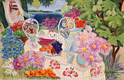 Peaches Pastels Posters - Lunch in the Garden Poster by Tatjana Krizmanic