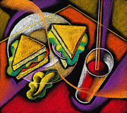 Hamburger Painting Metal Prints - Lunch Metal Print by Leon Zernitsky
