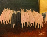 Piglet Paintings - Lunch Line by Dan Leamons