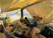 Lounging Painting Posters - Lunch on the Boat Poster by Joaquin Sorolla y Bastida