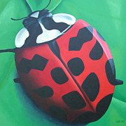 Insect Paintings - Lunching Lady . . . Bug by Jessie Leahy
