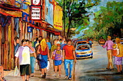 Montreal Streets Painting Originals - Lunchtime On Mainstreet by Carole Spandau