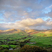 High Angle View Framed Prints - Lune Valley And Howgill Fells Framed Print by David Barrett