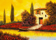 Fishing Boat Sunset Prints - Lungo Il Fiume Tra I Papaveri Print by Guido Borelli