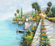 Italy Village Framed Prints - Lungolago Framed Print by Guido Borelli