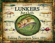 Bass Painting Prints - Lunkers Bait and Tackle Print by JQ Licensing
