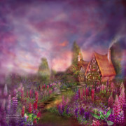 Fantasy Art Giclee Posters - Lupine Cottage Poster by Carol Cavalaris