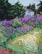 Maine Pastels Framed Prints - Lupine Cottage in Maine Framed Print by Hillary Gross