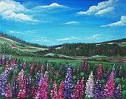 Flower Field Paintings - Lupine Hills by Anastasiya Malakhova