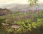 Barrette Painting Originals - Lupine In Fog by Elaine Farmer