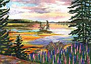 Lupines Paintings - Lupine Sunrise by Ernestine Grindal