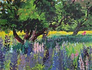 Lupines Paintings - Lupines and Buttercups by Lynne Schulte