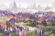 Lupines Paintings - Lupines Galore by Bonnie Ross