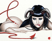 Tail Drawings Posters - Lure Of Lamia Poster by Pete Tapang