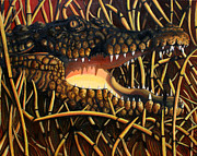 Crocodile Paintings - Lurking  by Hannah Curran