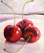 Cherry Art Posters - Luscious Cherries Poster by Toni Grote