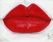 Red Lips Prints - Luscious Lips Print by Debbie Brown