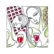Wine Drawings - Lush Life by Roy Guzman