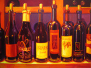 Wine Bottle Art Paintings - Lush by Penelope Moore