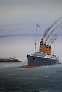 Liner Paintings - Lusitania at Roches Point by James McGuinness