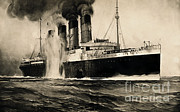 Opinion Prints - Lusitania Hit By Torpedo, 1915 Print by Photo Researchers
