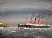 Liner Painting Originals - Lusitania off the Old Head by James McGuinness