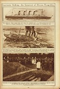 Coffins Framed Prints - Lusitania Sinking The Greatest Of Ocean Framed Print by Everett