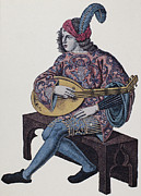 Lutenist Photo Framed Prints - Lute Player, 1839 Framed Print by Granger